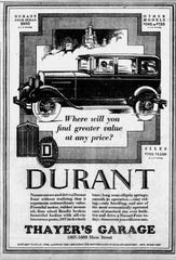Thayer's Garage, at 1007 Main St. in Lafayette at the time, advertised Durant sedans in the 1928 Journal & Courier.