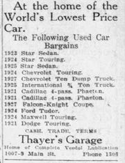 "Thayer's Garage, at 1007 Main St. in Lafayette at the time, claimed in this 1928 advertisement that it was ""home of the World's Lowest Price Car."""
