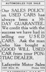 Lafayette Auto Sales was one of at least three dealerships during a decade before World War II at 1007 Main St. in downtown Lafayette.