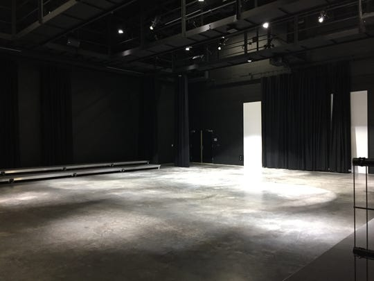 A theater space is seen at the new performing arts building at Comeaux High.