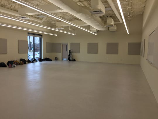 A music classroom is seen in the new performing arts building at Comeaux High.