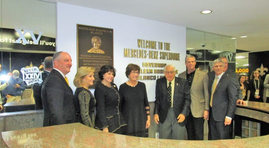 Gov. John Bel and Donna Edwards, Kathleen and Raymond Blanco, Kyle France and Doug Thornton gather for the dedication of the lobby and plaque bearing former governor Kathleen Blanco's name.