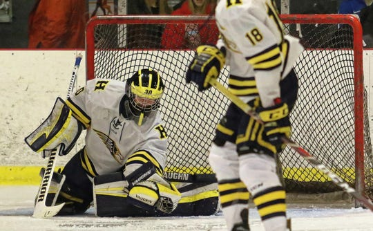 Hartland goalie Brett Tome allowed only one goal in games against Detroit U-D Jesuit and Salem over the weekend.