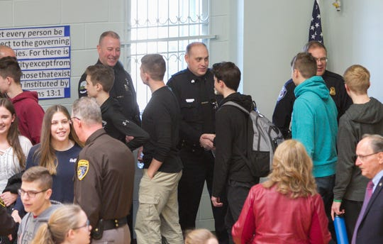 Students at Livingston Christian Schools thank local police officers at an event to show appreciation to those in law enforcement Monday, Jan. 14, 2019.