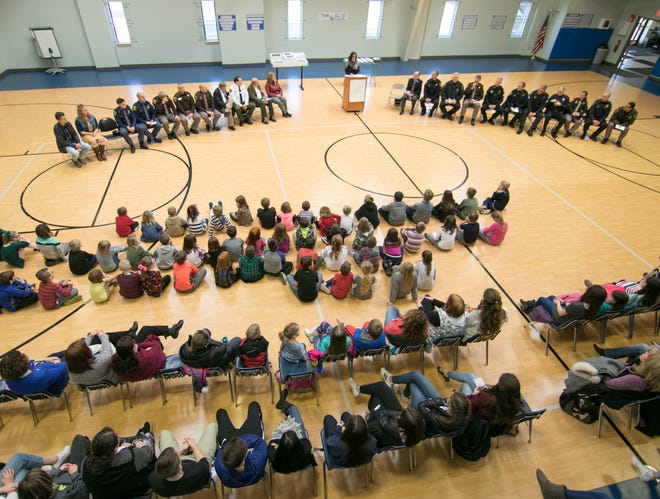 Students of the Livingston Christian  Schools assembled Monday, Jan. 14, 2019 in the school gym to give thanks to the county's police force. State Rep. Ann Bollin spoke as one of three individuals from Michigan legislature on hand to show appreciation.
