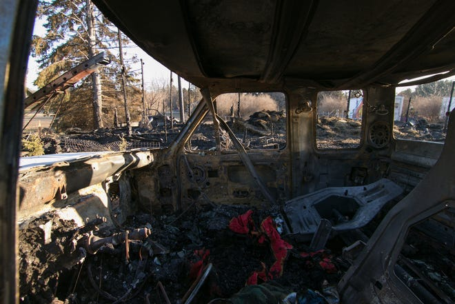 Seven horses were killed in a fire that took place on a farm near the intersection of Hinchey and Burgess Sunday. The remains of the barn can be seen through the gutted truck attached to a horse trailer on the farm Monday, Jan. 14, 2019.