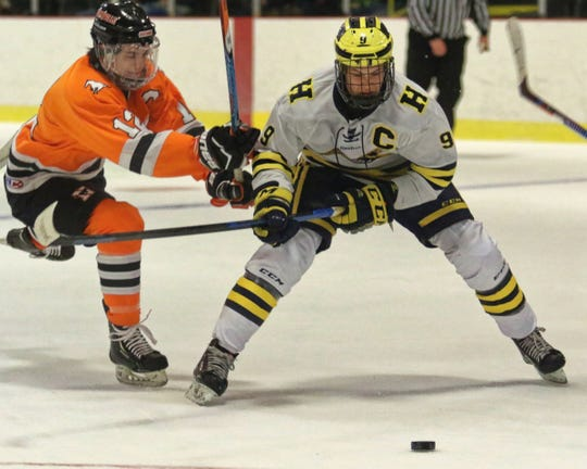 Hartland's Joey Larson (9) has 16 goals and 11 assists in 14 games.