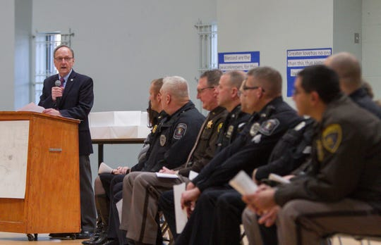 State Rep. Hank Vaupel voices his thanks to the various police departments of Livingston County Monday, Jan. 14, 2019 at an appreciation event held at Livingston Christian Academy.