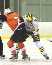 Hartland's Joey Larson (9) has three hat tricks in 14 games.