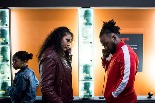 January 14 2019 - WWE Superstars Tamina, center, and Xavier Woods, right, at an exhibit inside of the National Civil Rights Museum while accompanied by members of local Boys & Girls Clubs during a tour on Monday morning. The WWE Superstars were in town for the the WWE Monday Night Raw at the FedExForum.