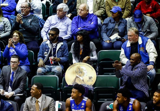 Memphis fans watch the Tigers take on Tulane in New Orleans on Sunday.