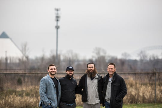 January 14 2019 - From left, Hopper Seely, owner, Mark Patrick, head brewer, Tyler Nelson, general manager, and Bill Seely, chairman of the board, at the site of the future Grind City Brewing Company. In the second quarter of 2019 Grind City Brewing Co. will open at 83 Waterworks Ave. with 4.6 acres of land, a 10,000 square foot brewery and taproom, a beer garden and stage for outdoor concerts and festivals along with a sweeping view of Downtown Memphis.