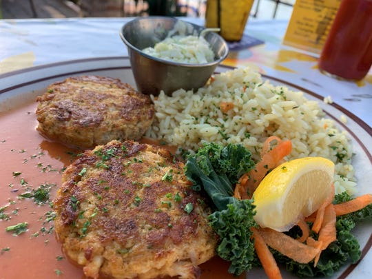 Sautéed  blue crab cakes from the Little Bar, Goodland.