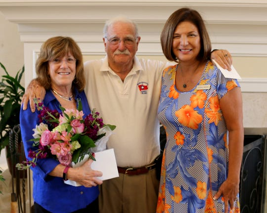 From left, Guest speakers Lil and Ken Bardon with programs chair Linda Miner.