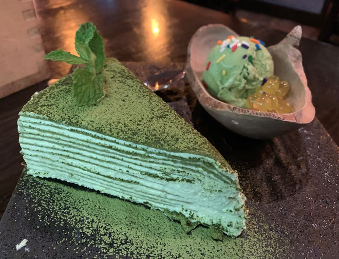 Green tea crepe cake from Zen Asian BBQ, Naples.