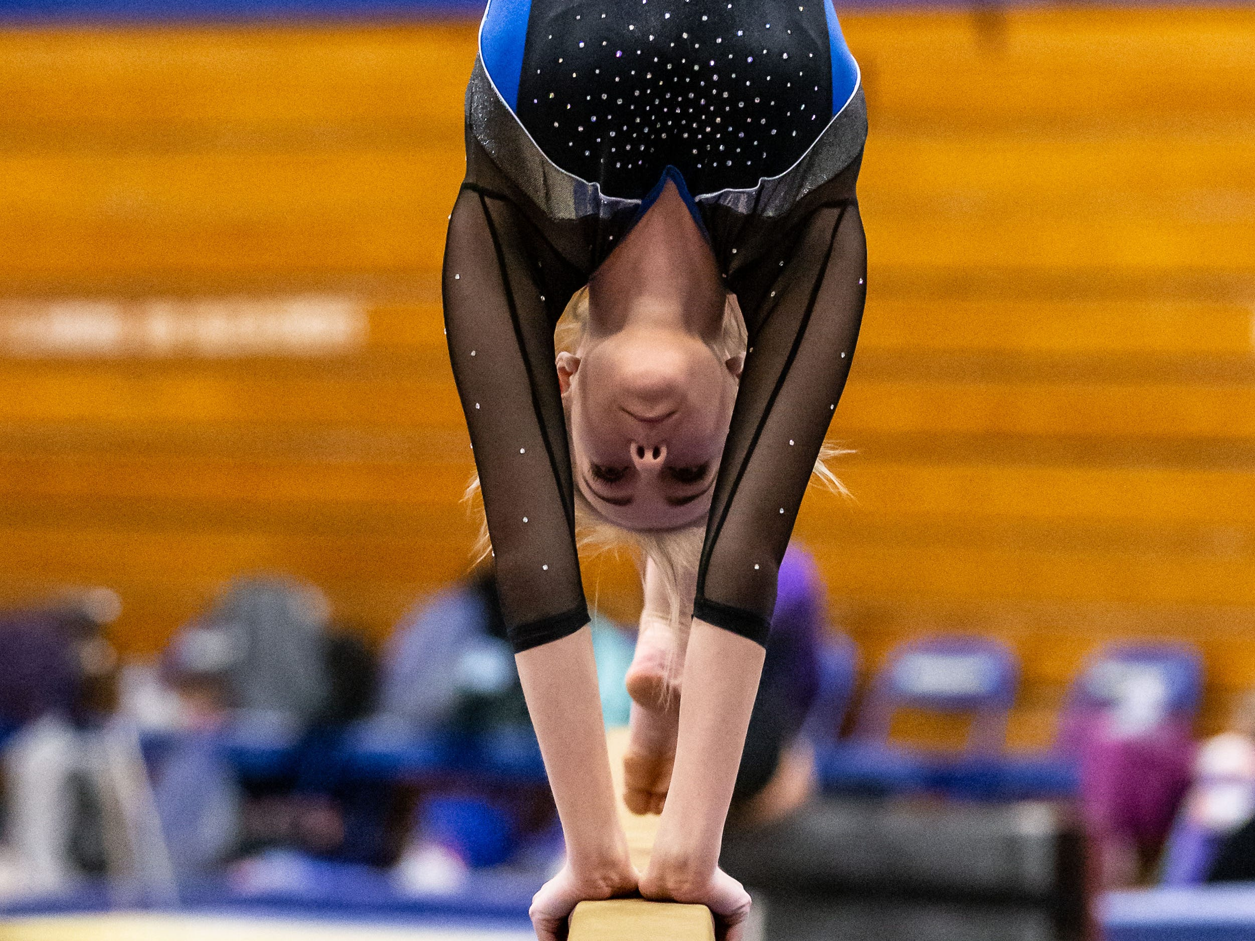 Mukwonago/Kettle Moraine co-op gymnast Mackenzie Pendleton competes on the beam during the Mukwonago Gymnastics Invite on Thursday, Jan. 10, 2019. Pendleton placed second in the All Around with a score of 33.150.