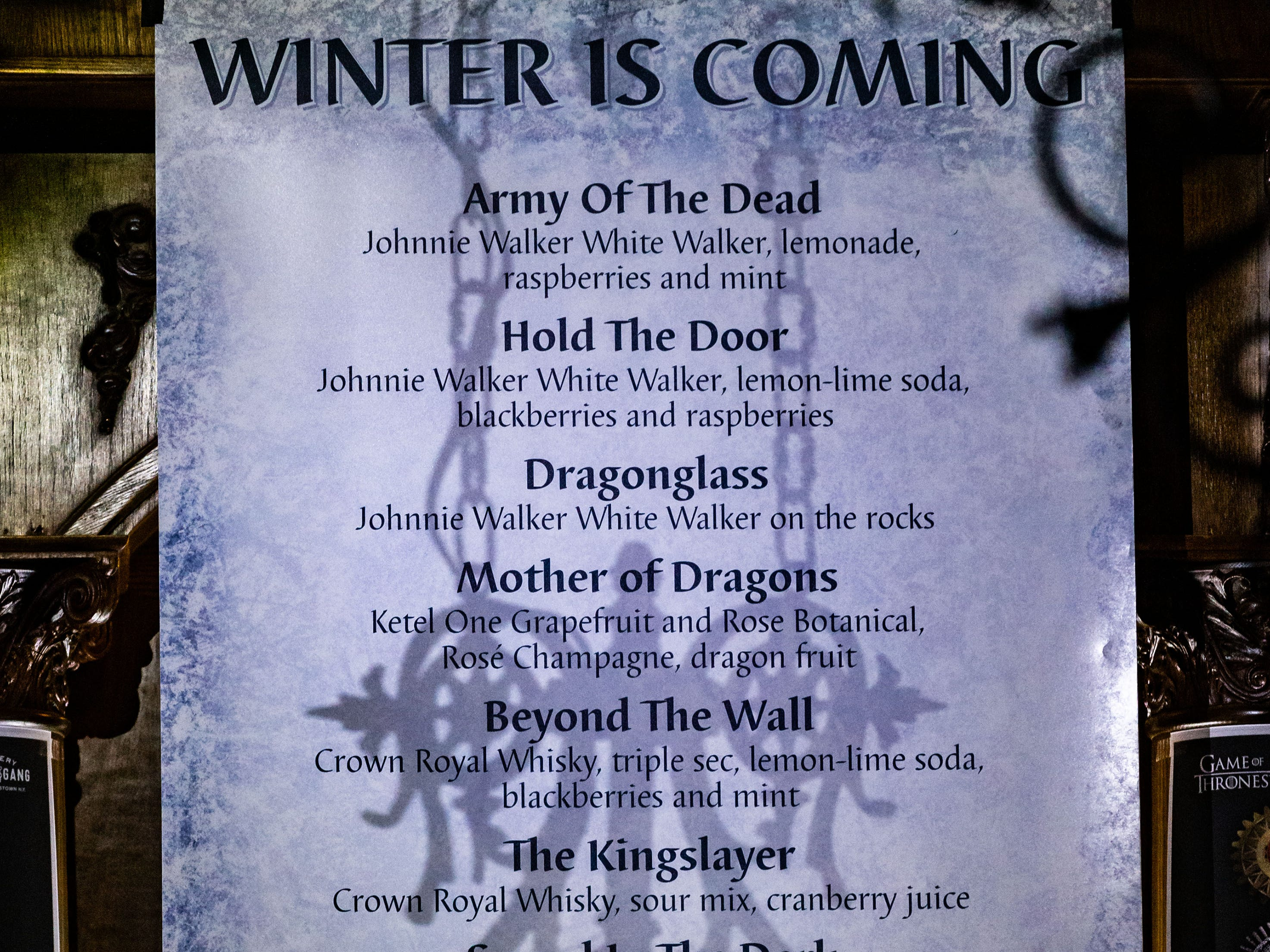 "Drink specials await those who enter the ""Winter is Coming"" pop-up bar experience at the City Lounge in Cudahy on Saturday, Jan. 12, 2019. The ""Game of Thrones"" inspired attraction runs through Feb. 2 and features drink specials, White Walkers, ravens and a fire breathing dragon. Attendees must be 21 or older."
