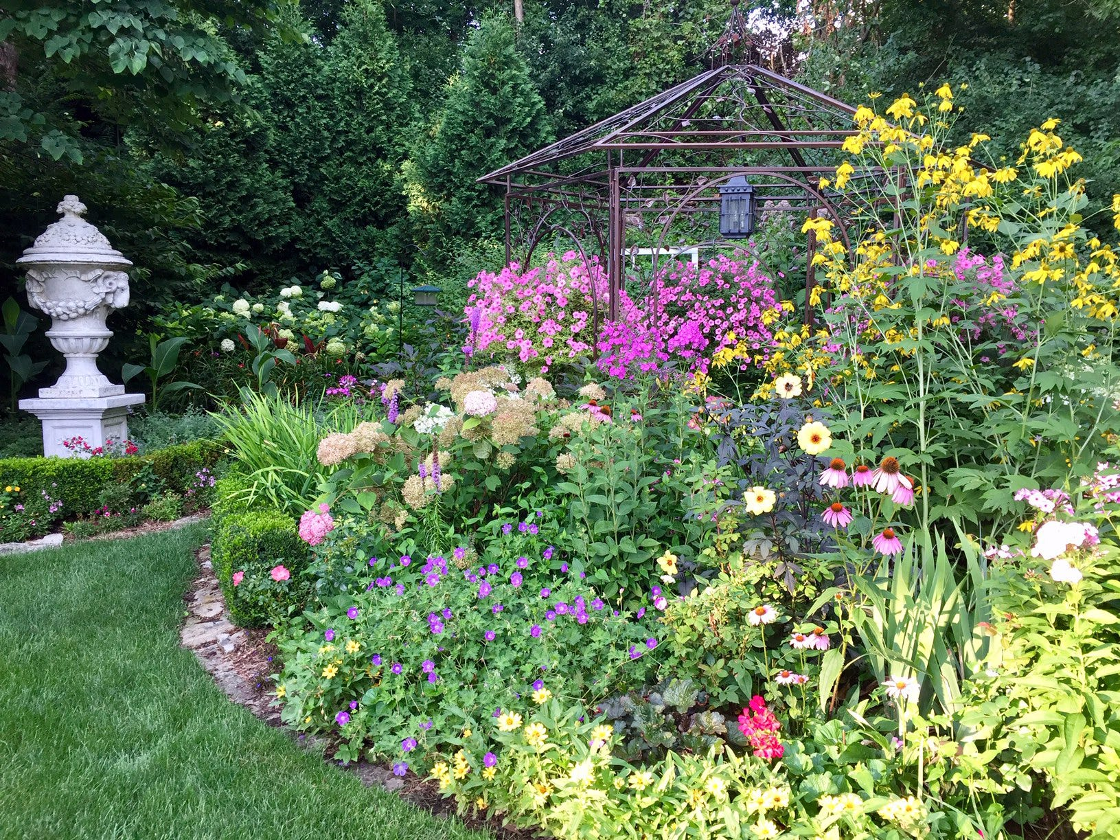 The Wissings' garden explodes with color in the summer.
