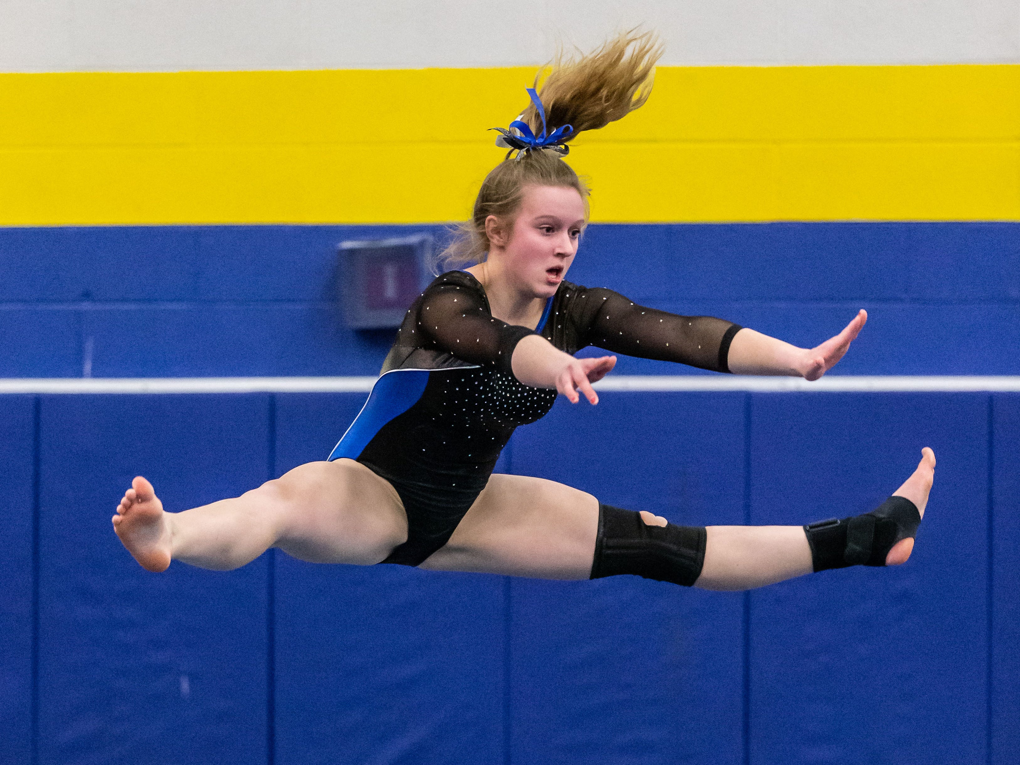 Mukwonago/Kettle Moraine co-op gymnast Ella Rageth competes on the floor during the Mukwonago Gymnastics Invite on Thursday, Jan. 10, 2019.