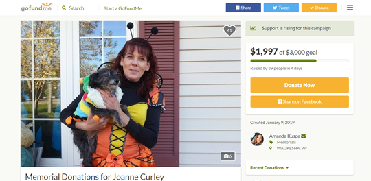 A fundraiser in honor of Joanne Curley has raised nearly $2,000