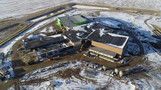 An aerial view shows work continuing on what will be the new Meadow View Elementary School in Oconomowoc.