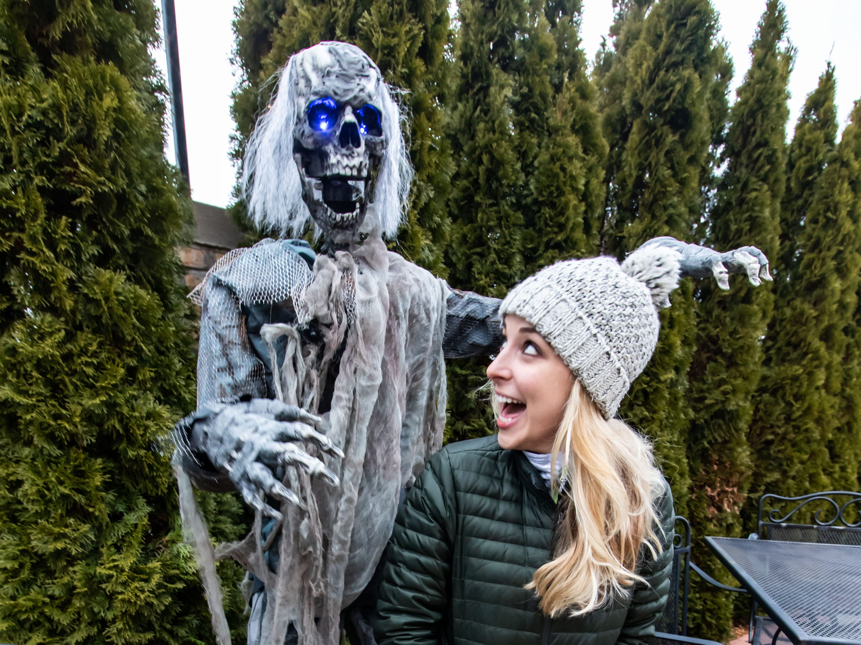"Sarah Steiner of Milwaukee encounters a White Walker during the ""Winter is Coming"" pop-up bar experience at the City Lounge in Cudahy on Saturday, Jan. 12, 2019. The ""Game of Thrones"" inspired attraction runs through Feb. 2 and features drink specials, White Walkers, ravens and a fire breathing dragon."