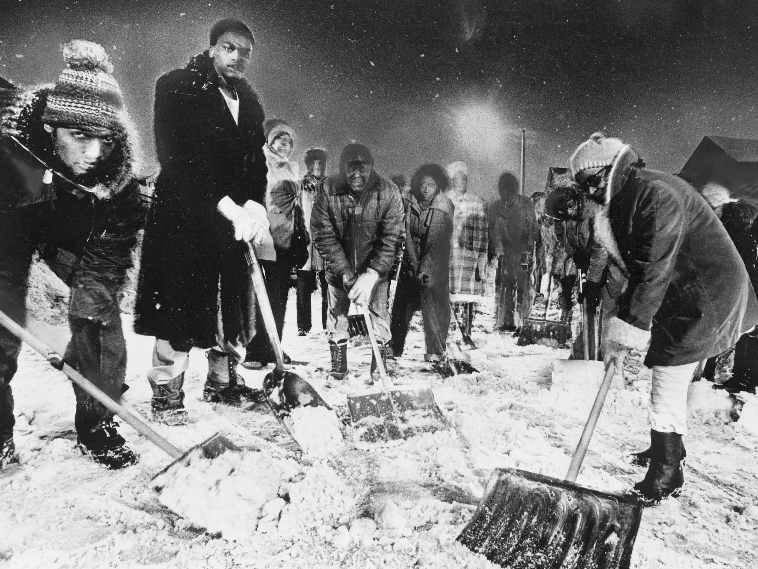 Neighbors in the 3300 block of North 15th Street grab their shovels to clean up the last of the snow on Jan. 27, 1979. The volunteer effort came after Milwaukee had trouble digging out of its third major snowstorm in a month. This photo was published in the Jan. 28, 1979, Milwaukee Journal.