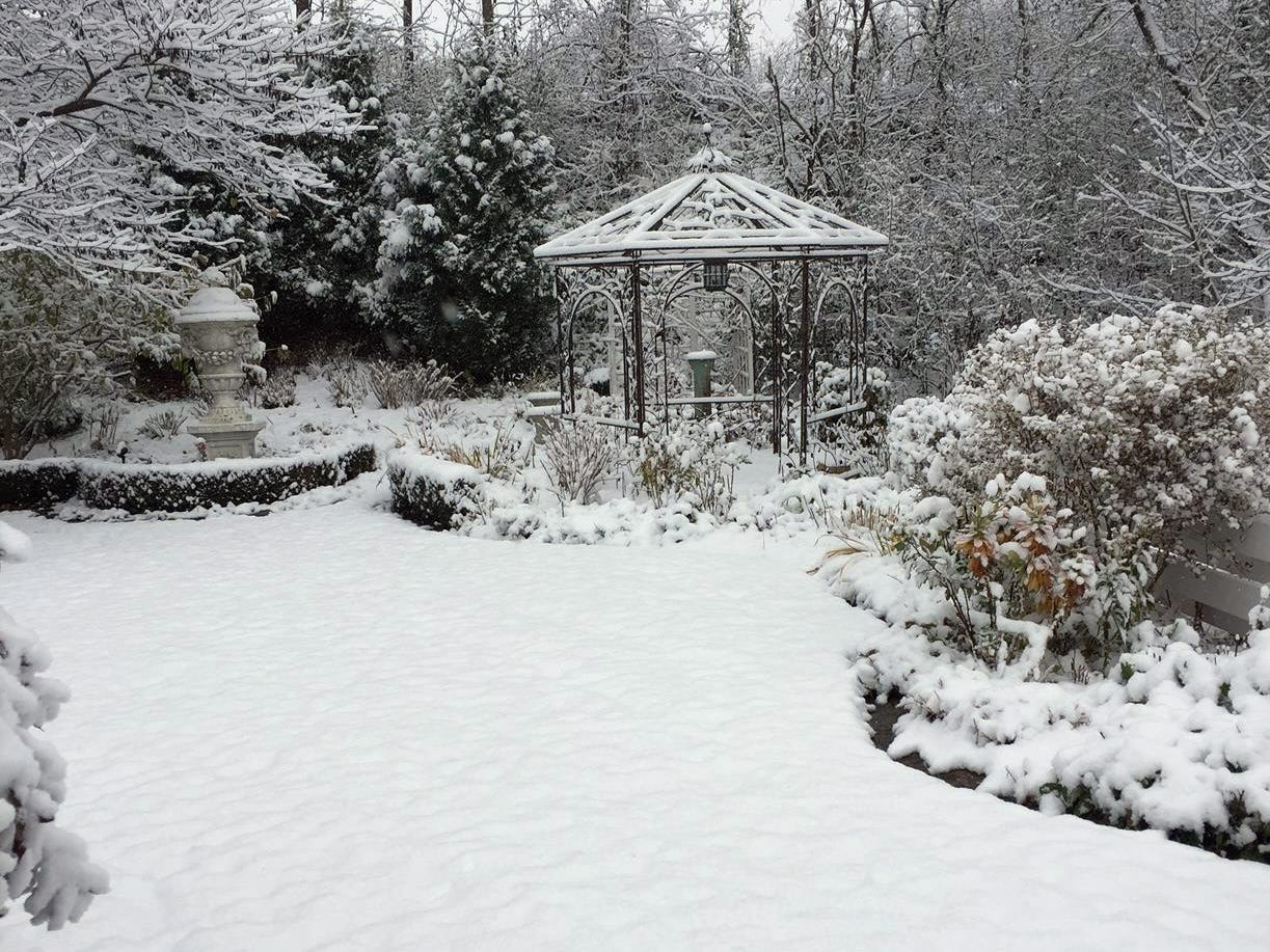 A Victorian feel is still evident in the yard with a cover of snow.
