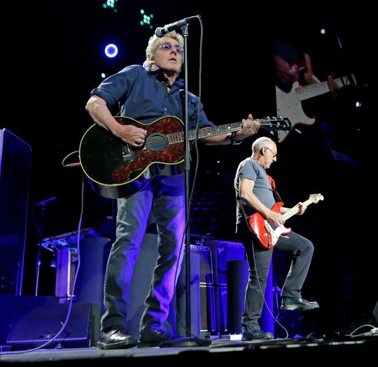 "Roger Daltrey, left, and Pete Townshend of the The Who play ""Who Are You"" at the BMO Harris Bradley Center in Milwaukee on March 21, 2016. The band is expected to play Alpine Valley Music Theatre this year."