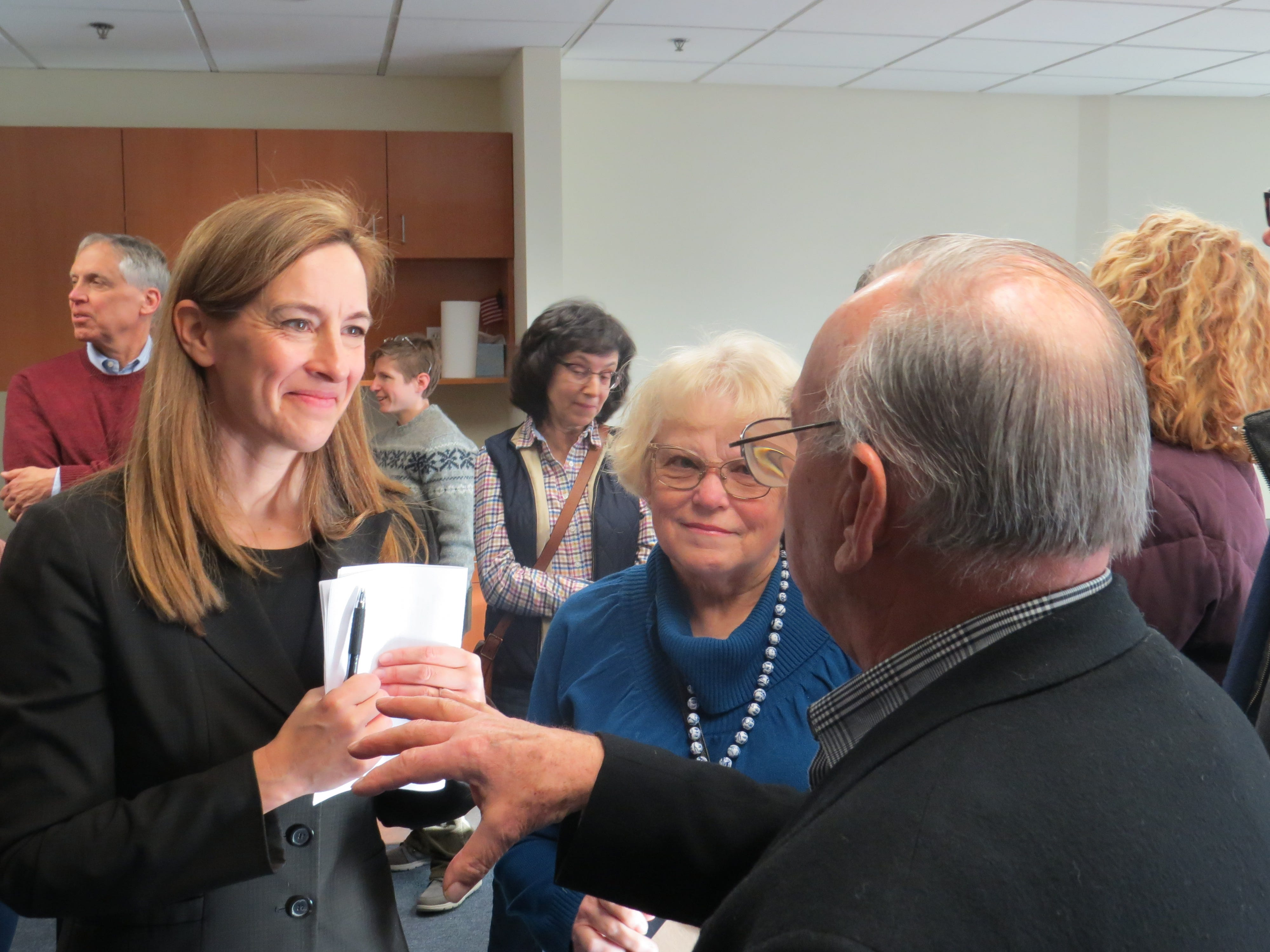 "Rep. Mikie Sherrill (D-Montclair) meets constituents curing a ""Monday with Mikie"" open house event at her new District 11 office in Parsippany. January 14, 2019"