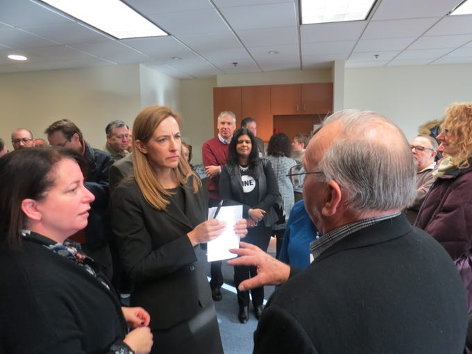 """Rep. Mikie Sherrill (D-Montclair) meets constituents curing a """"Monday with Mikie"""" open house event at her new District 11 office in Parsippany. January 14, 2019"""