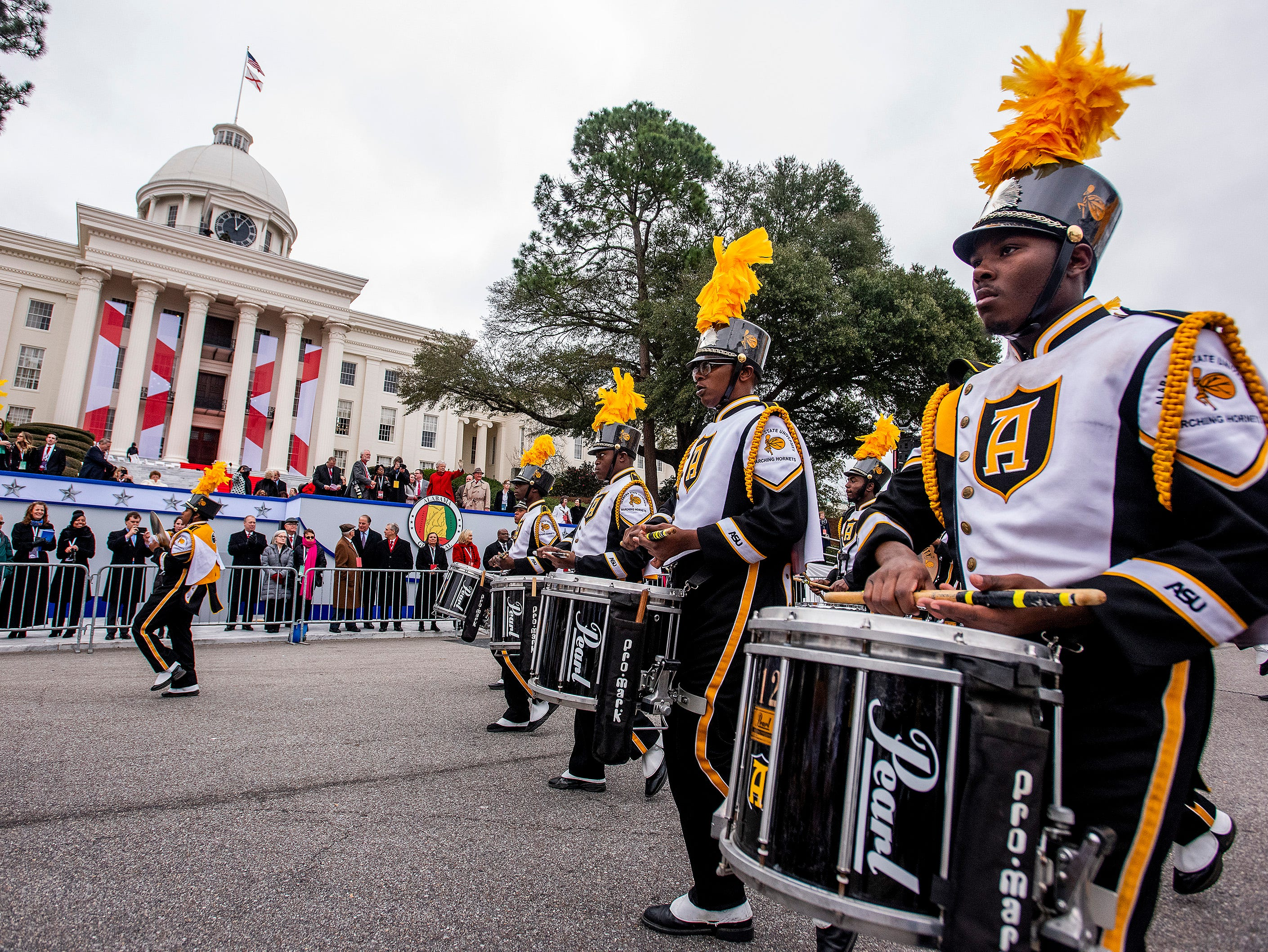 The Alabama State University Marching Hornets march in the Inauguration Parade for Governor Kay Ivey in Montgomery, Ala., on Monday January 14, 2019.