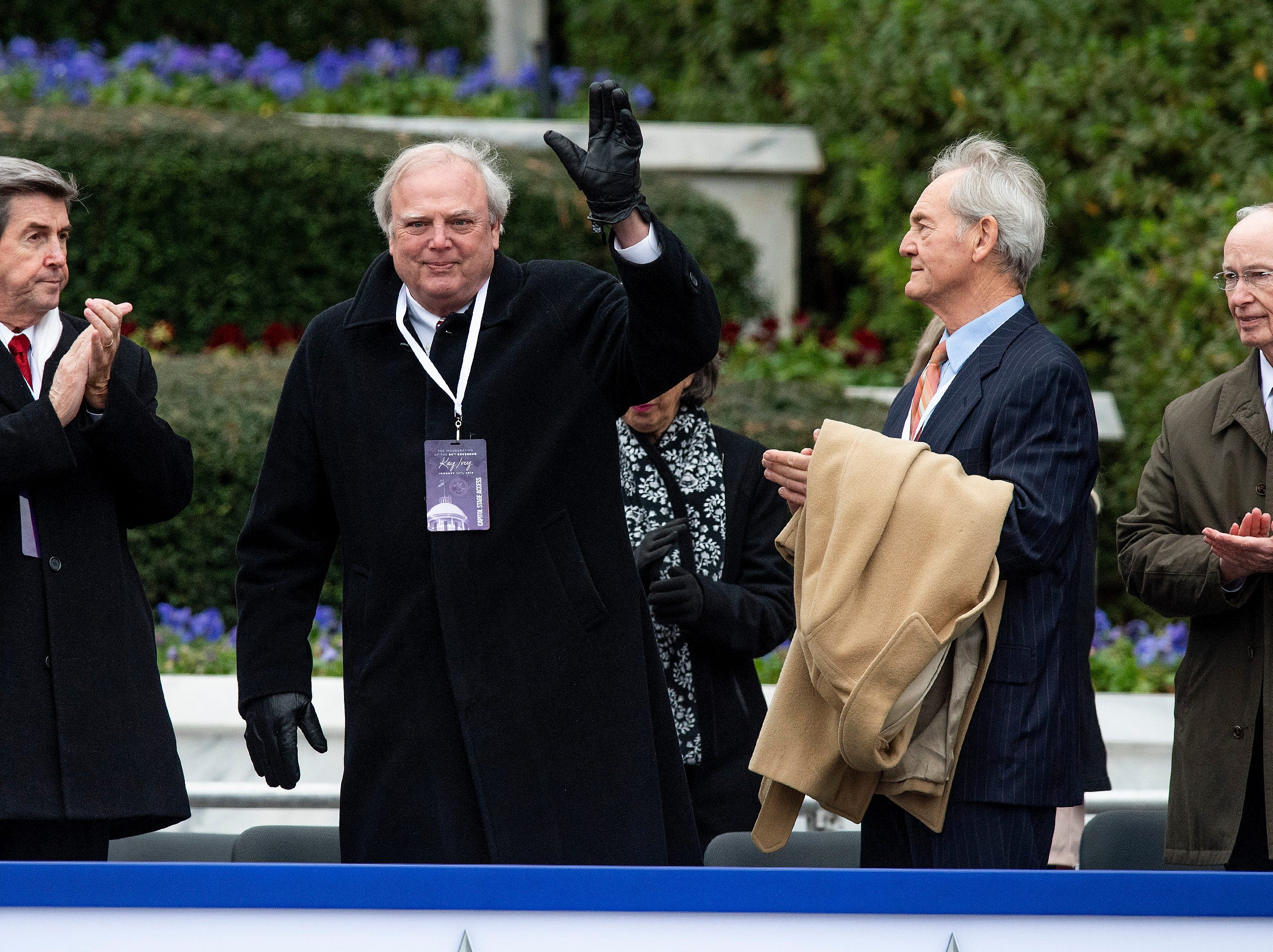 Former Alabama Governors, from left, Bob Riley, Jim Folsom, Jr., Don Siegleman and Robert Bentley during the Inauguration of Governor Kay Ivey on the state capitol steps in Montgomery, Ala., on Monday January 14, 2019.