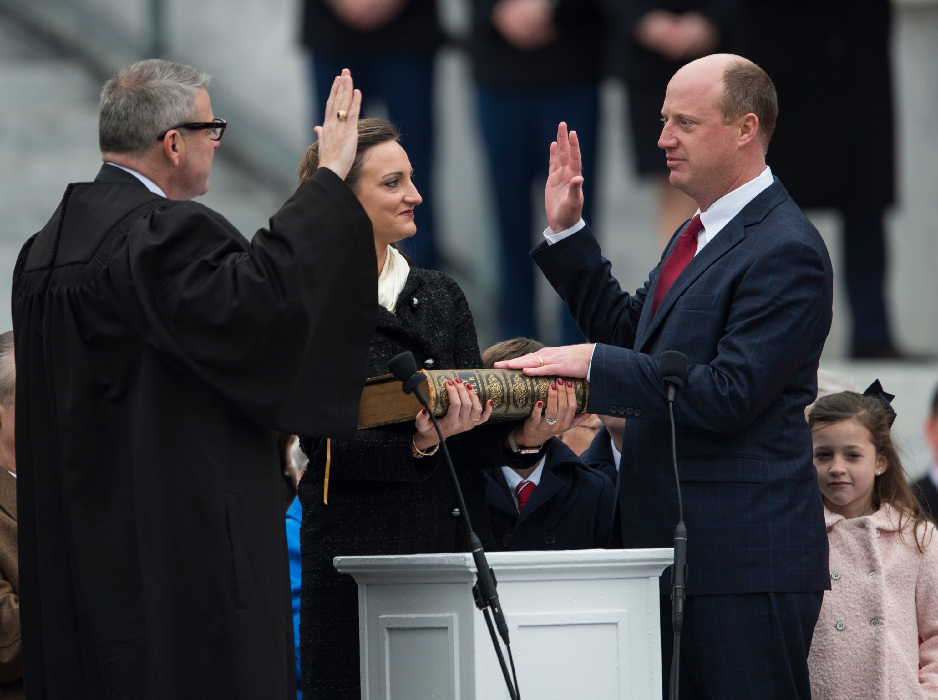 Alabama Lt. Gov. Will Ainsworth is sworn in during Inauguration  Day on the steps of the Alabama State Capitol in Montgomery, Ala., on Monday, Jan. 14, 2019.
