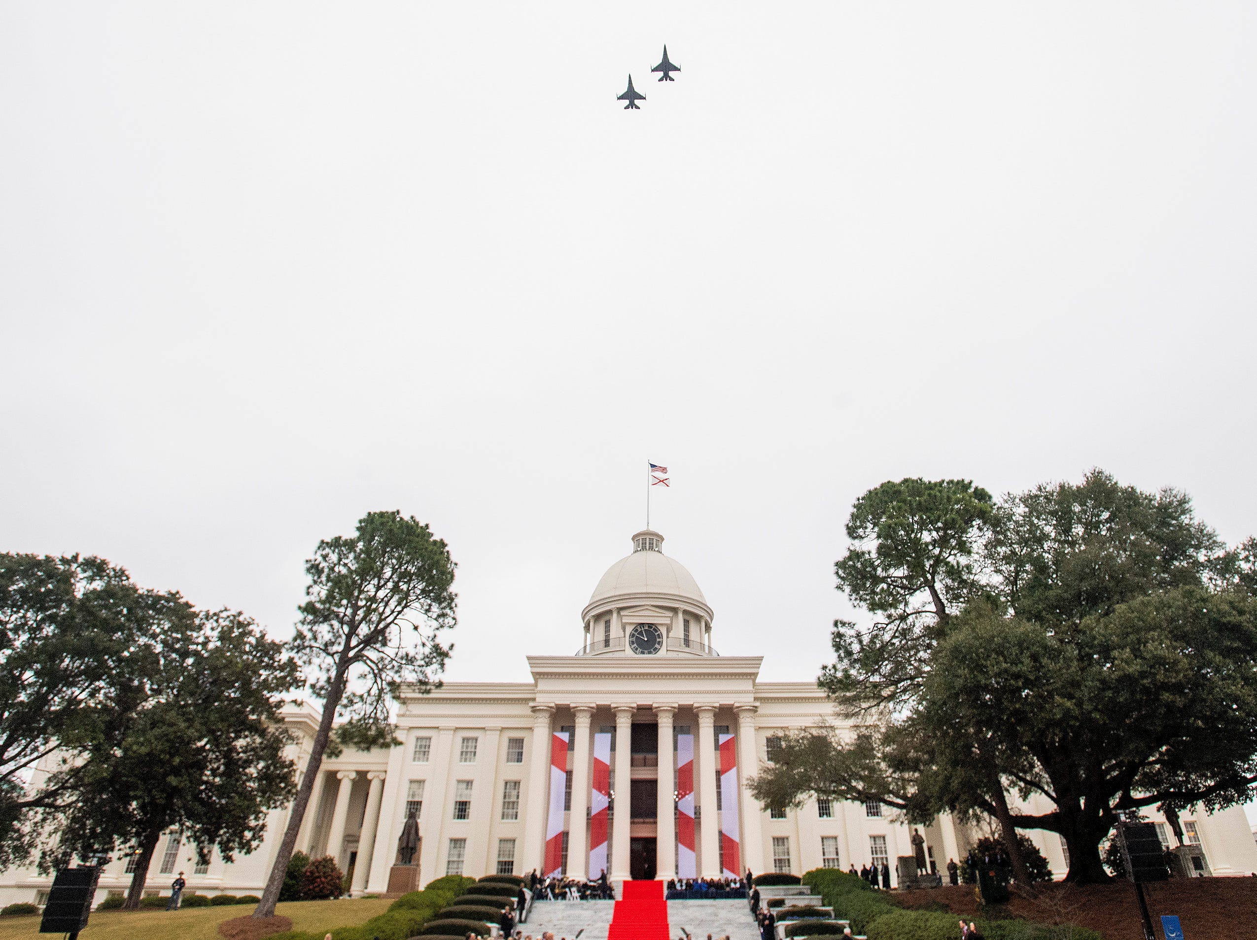A flyover during the Inauguration of Governor Kay Ivey on the state capitol steps in Montgomery, Ala., on Monday January 14, 2019.