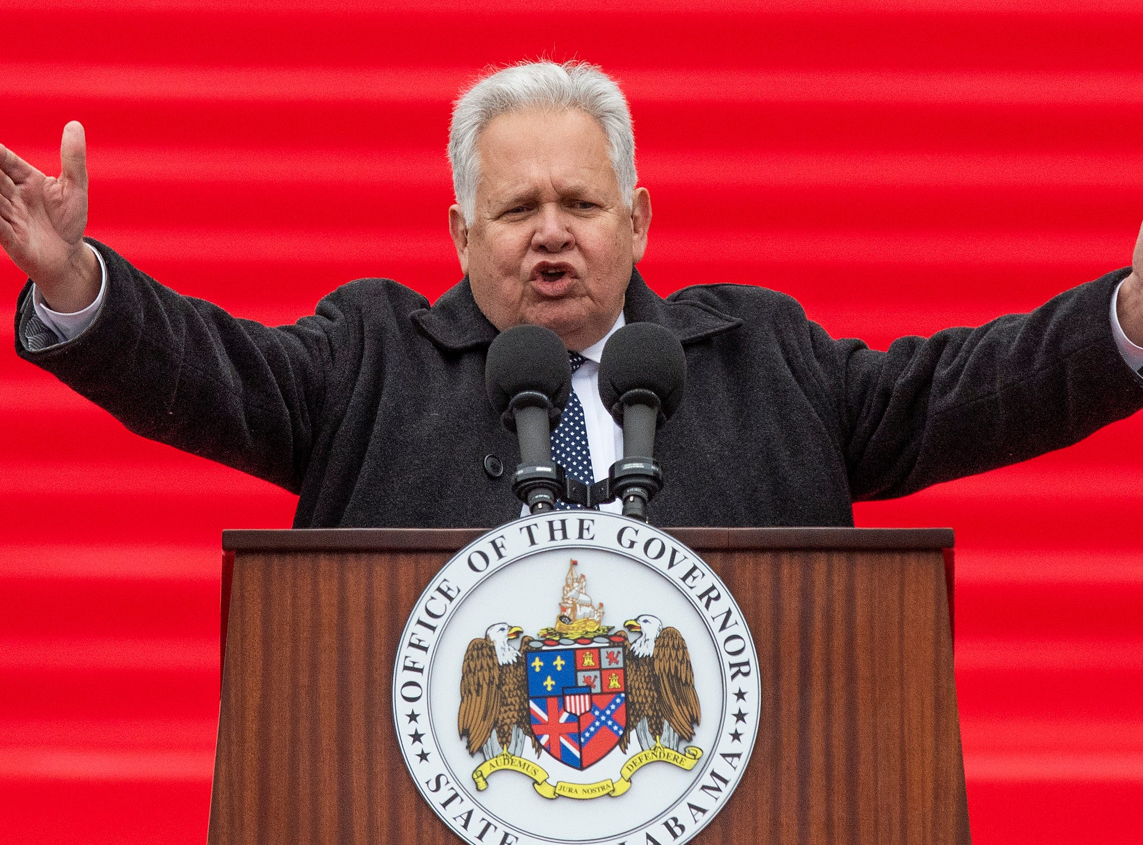 State Auditor Jim Zeigler speaks after being sworn in during the Inauguration of Governor Kay Ivey on the state capitol steps in Montgomery, Ala., on Monday January 14, 2019.