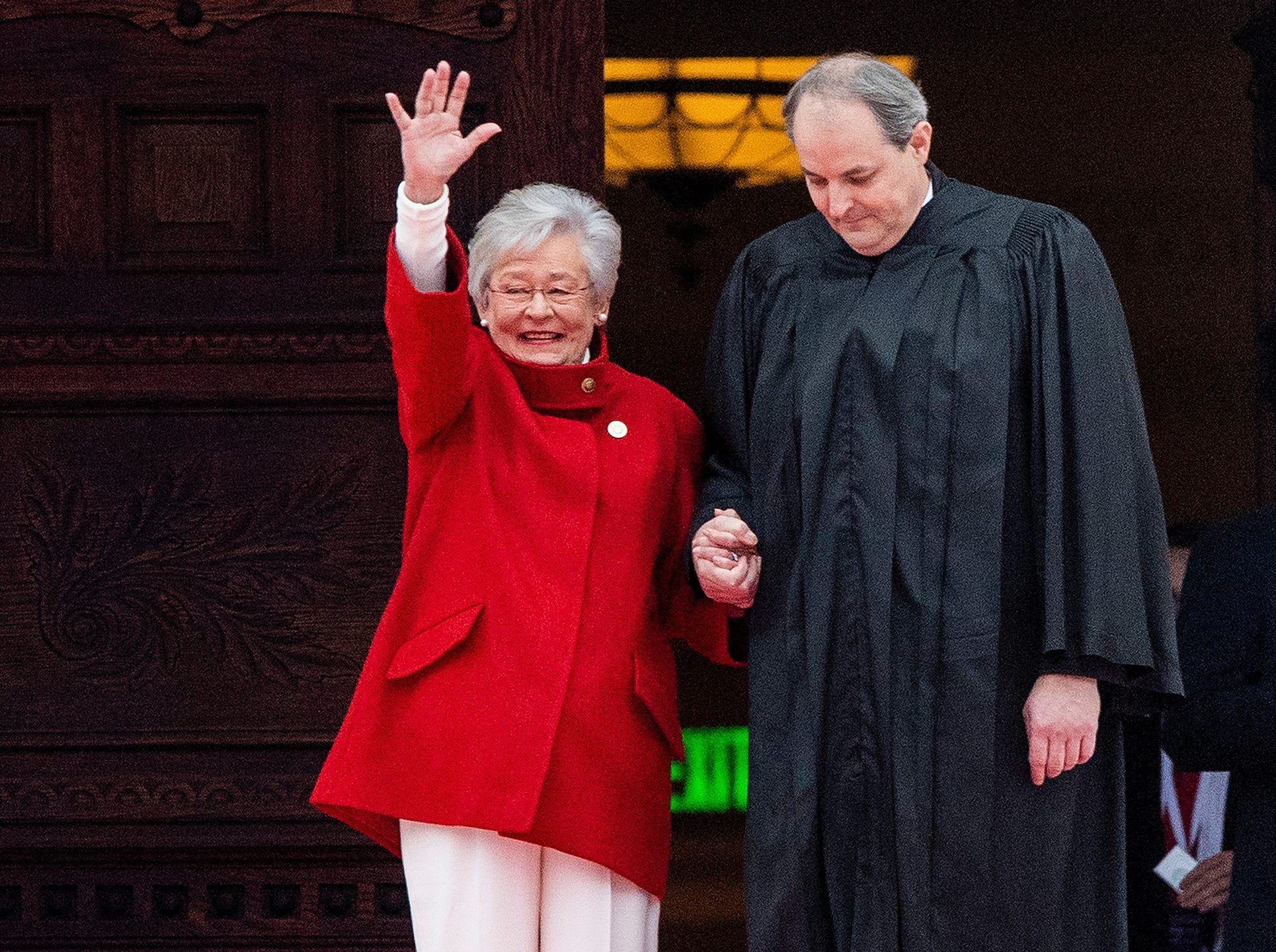 Governor Kay Ivey is escorted by Justice Will Sellers at her Inauguration in Montgomery, Ala., on Monday January 14, 2019.