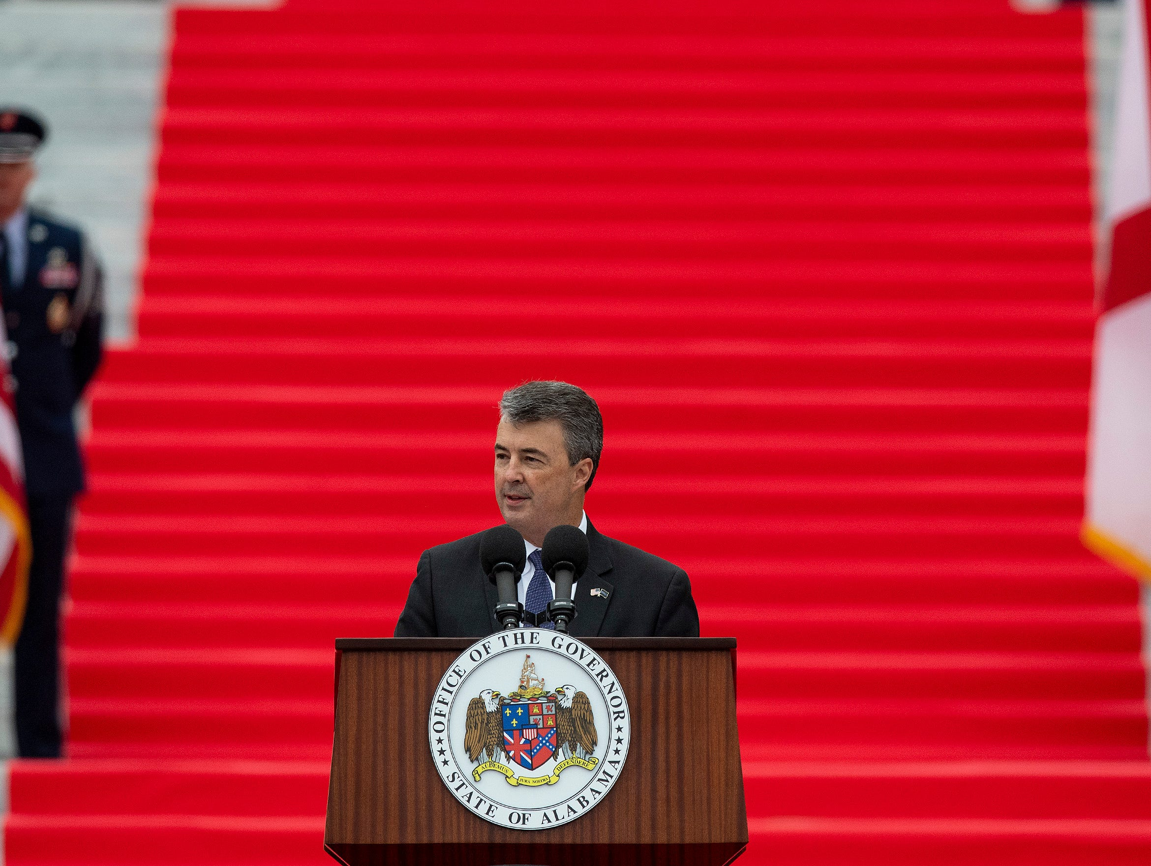 State Attorney General Steve Marshall speaks after being sworn in during the Inauguration of Governor Kay Ivey on the state capitol steps in Montgomery, Ala., on Monday January 14, 2019.