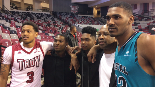 The recent Troy-Coastal Carolina men's basketball game was a semi-St. Jude reunion with Troy's Darian Adams, Keondrea Davis, Percy Richards, coach Earl Taylor and Coastal's Tommy Burton.