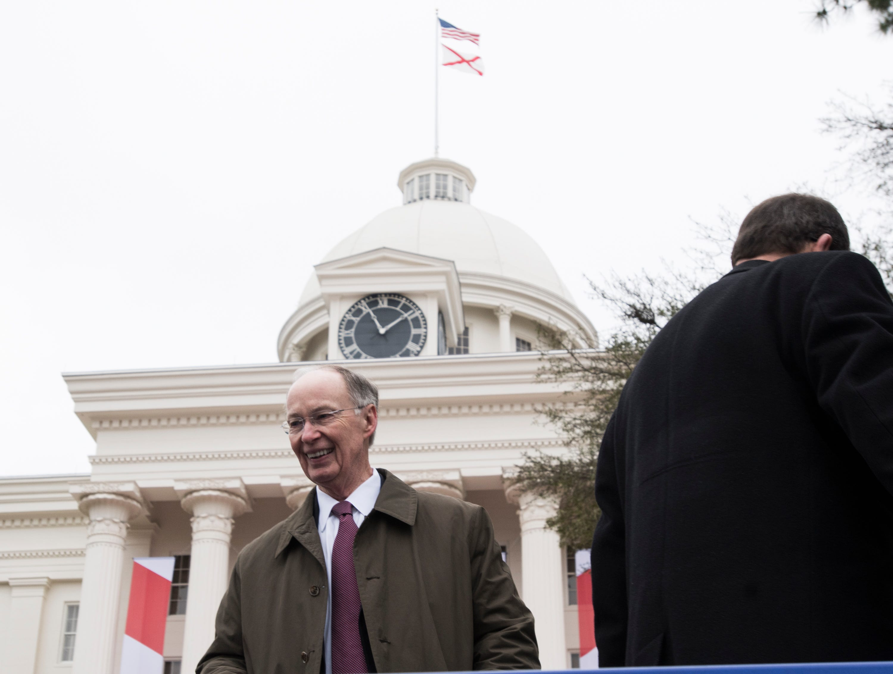 Former Alabama Gov. Robert Bentley during Inauguration  Day on the steps of the Alabama State Capitol in Montgomery, Ala., on Monday, Jan. 14, 2019.
