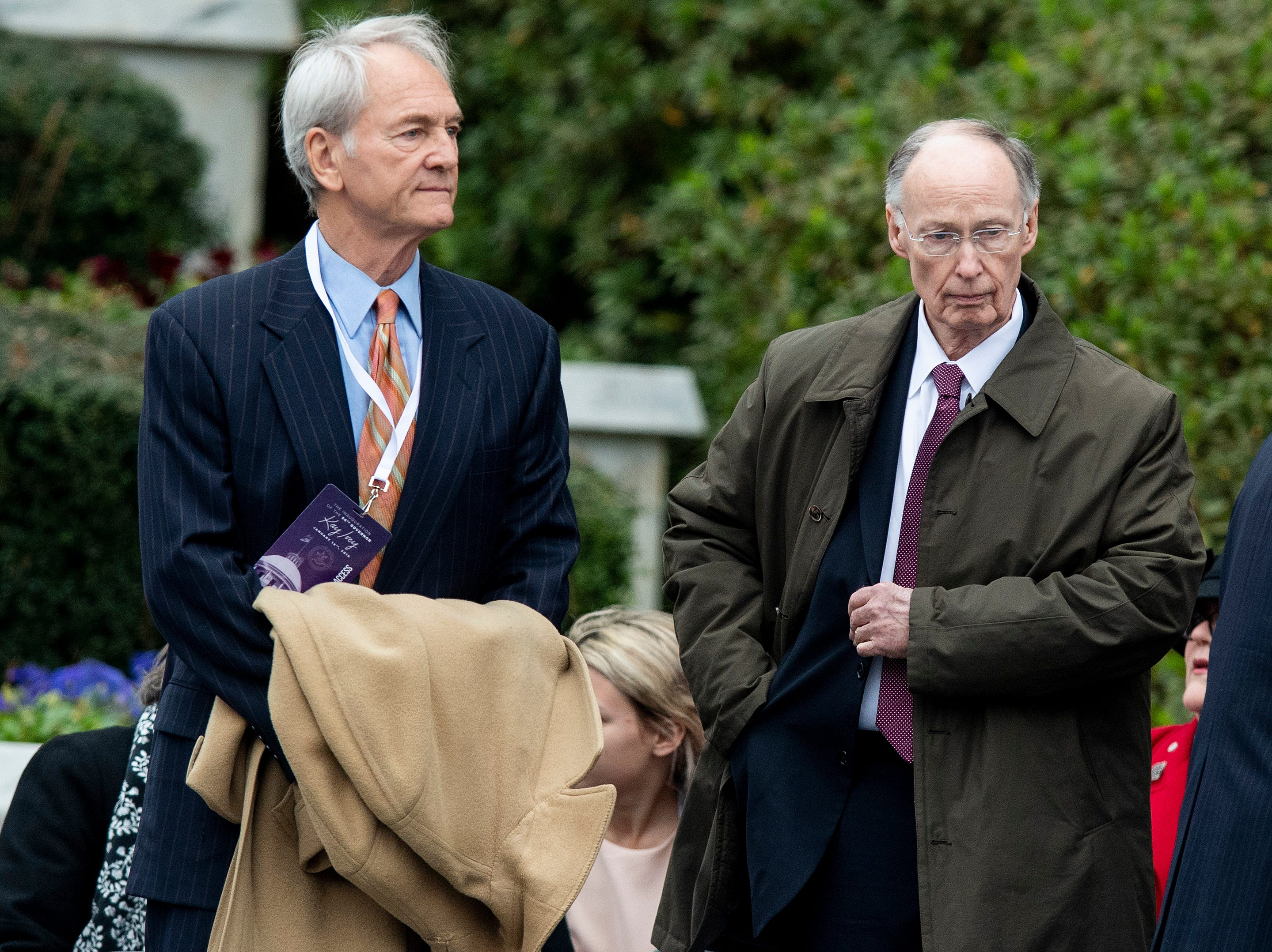 Former Alabama Governors, Don Siegelman, left, and Robert Bentley, right, arrive for the Inauguration of Governor Kay Ivey on the state capitol steps in Montgomery, Ala., on Monday January 14, 2019.