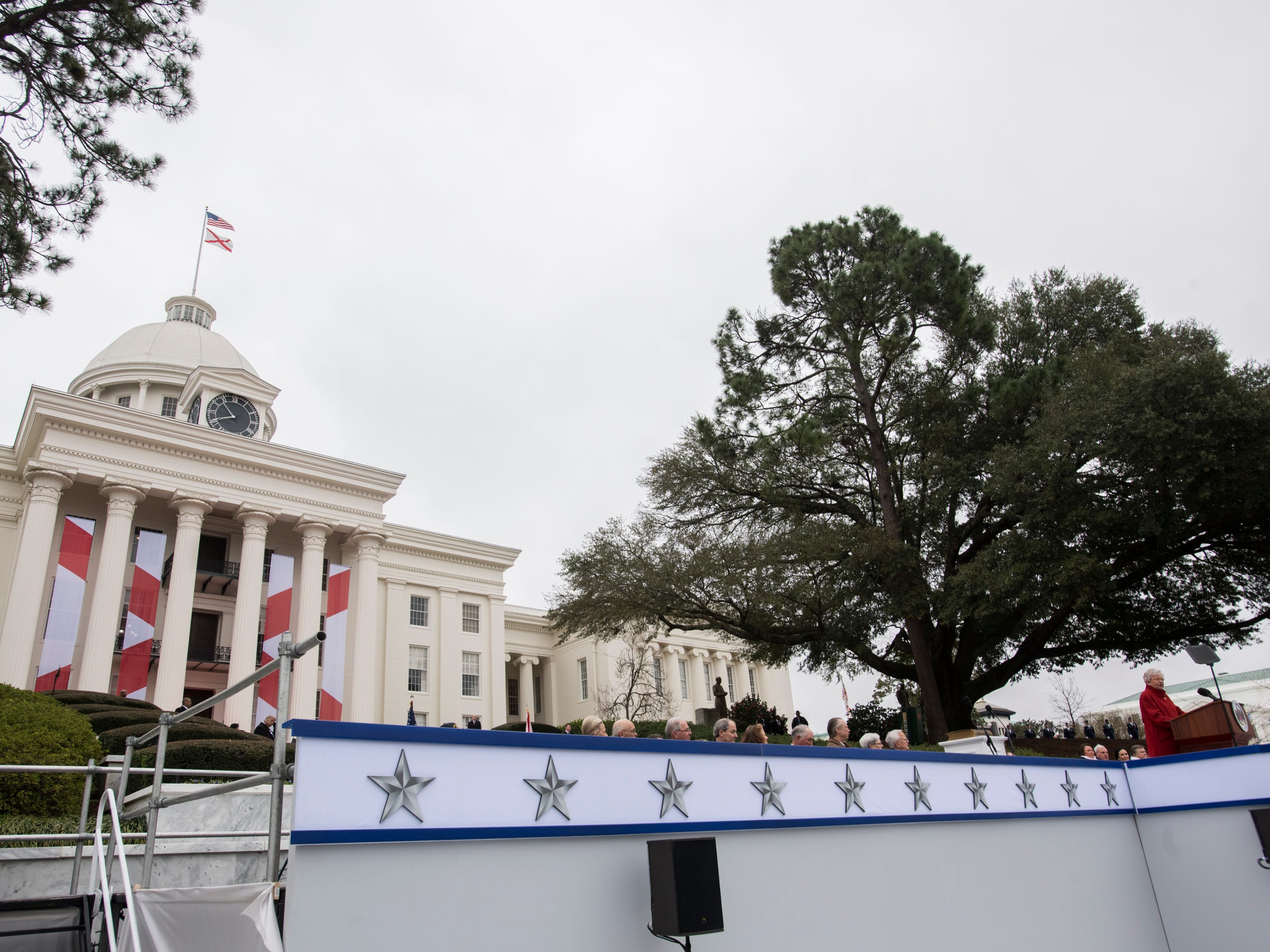 Alabama Gov. Kay Ivey speaks during Inauguration  Day on the steps of the Alabama State Capitol in Montgomery, Ala., on Monday, Jan. 14, 2019.