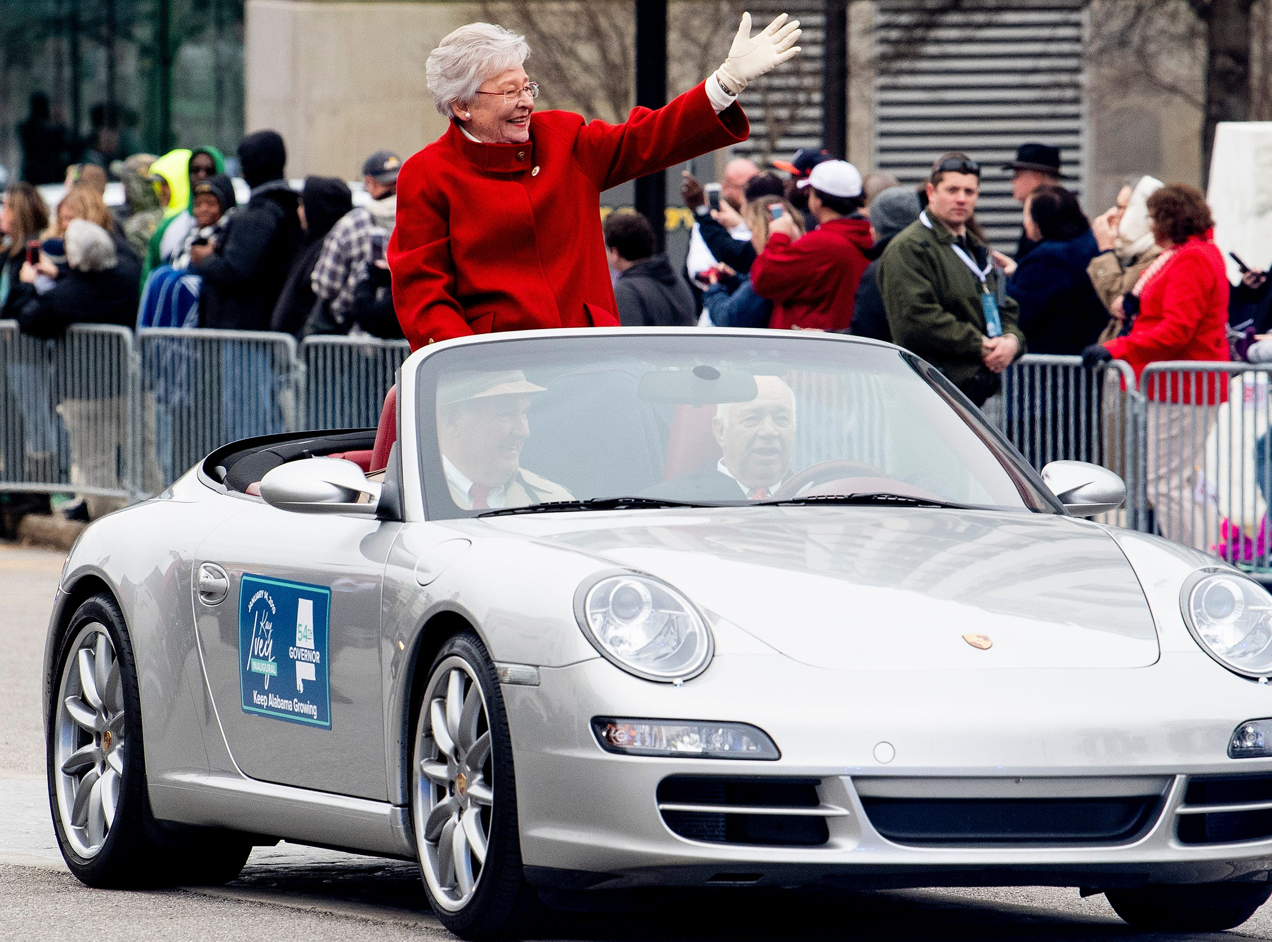 Governor Kay Ivey rides in the Inaugural Parade in Montgomery, Ala., on Monday January 14, 2019.
