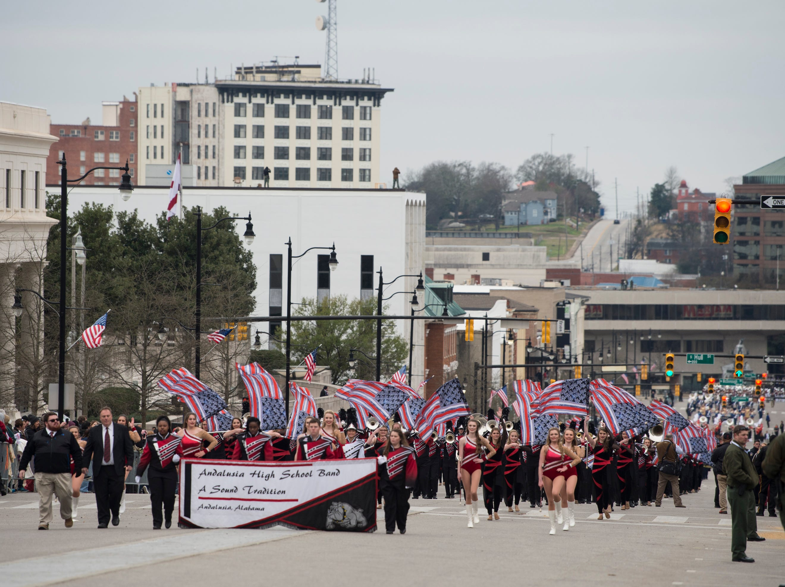 Andalusia High School marching band plays during the inauguration day parade in Montgomery, Ala., on Monday, Jan. 14, 2019.