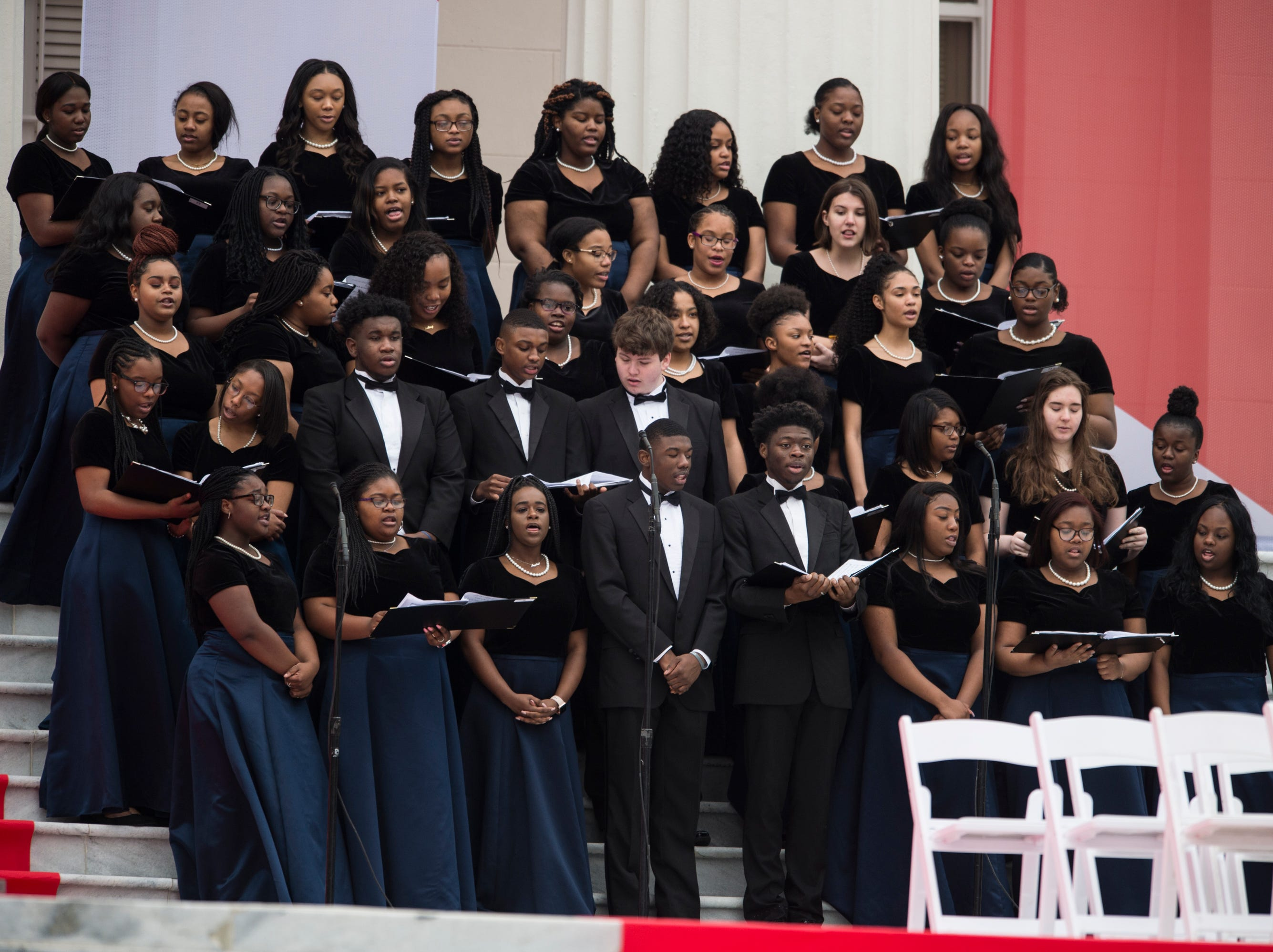The BTW student choir performs during Inauguration  Day on the steps of the Alabama State Capitol in Montgomery, Ala., on Monday, Jan. 14, 2019.