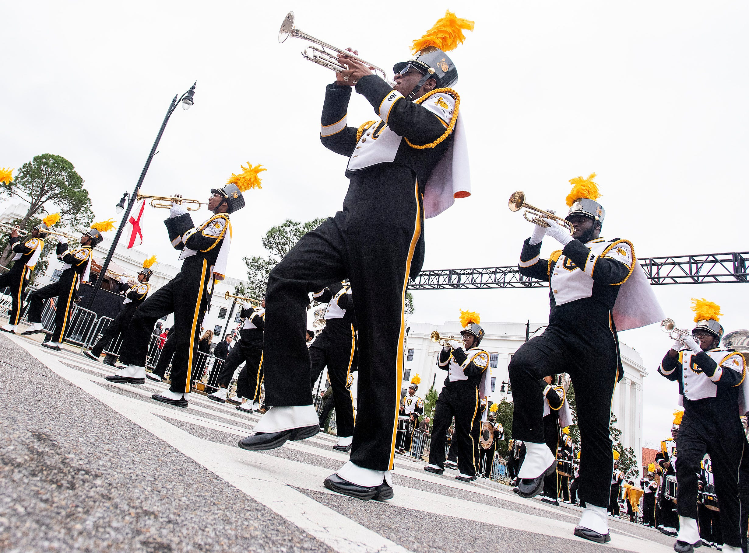 The Alabama State University Marching Hornets march during the Inauguration Parade for Governor Kay Ivey in Montgomery, Ala., on Monday January 14, 2019.