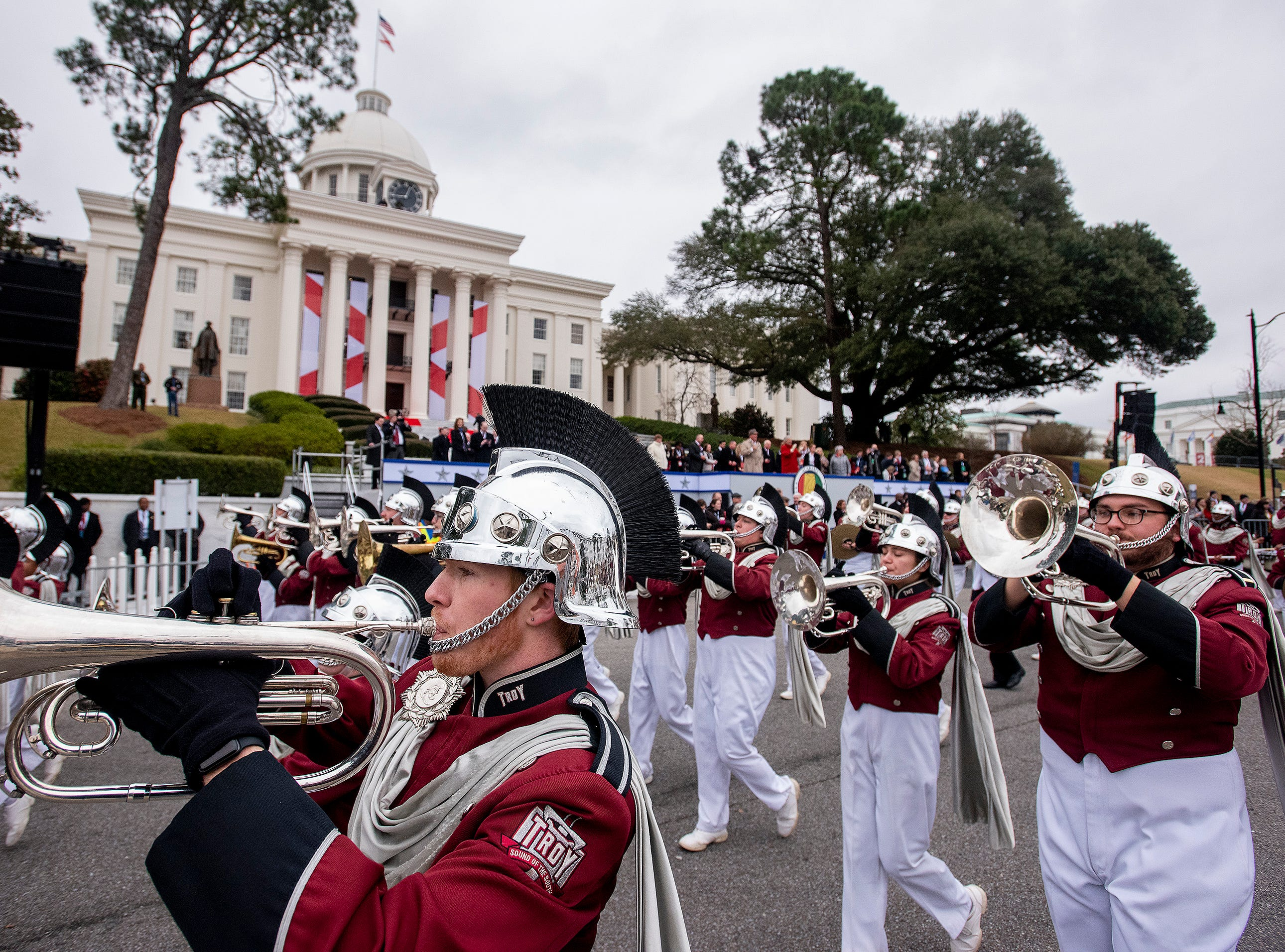 The Troy University Marching Band marches during the Inauguration Parade for Governor Kay Ivey in Montgomery, Ala., on Monday January 14, 2019.