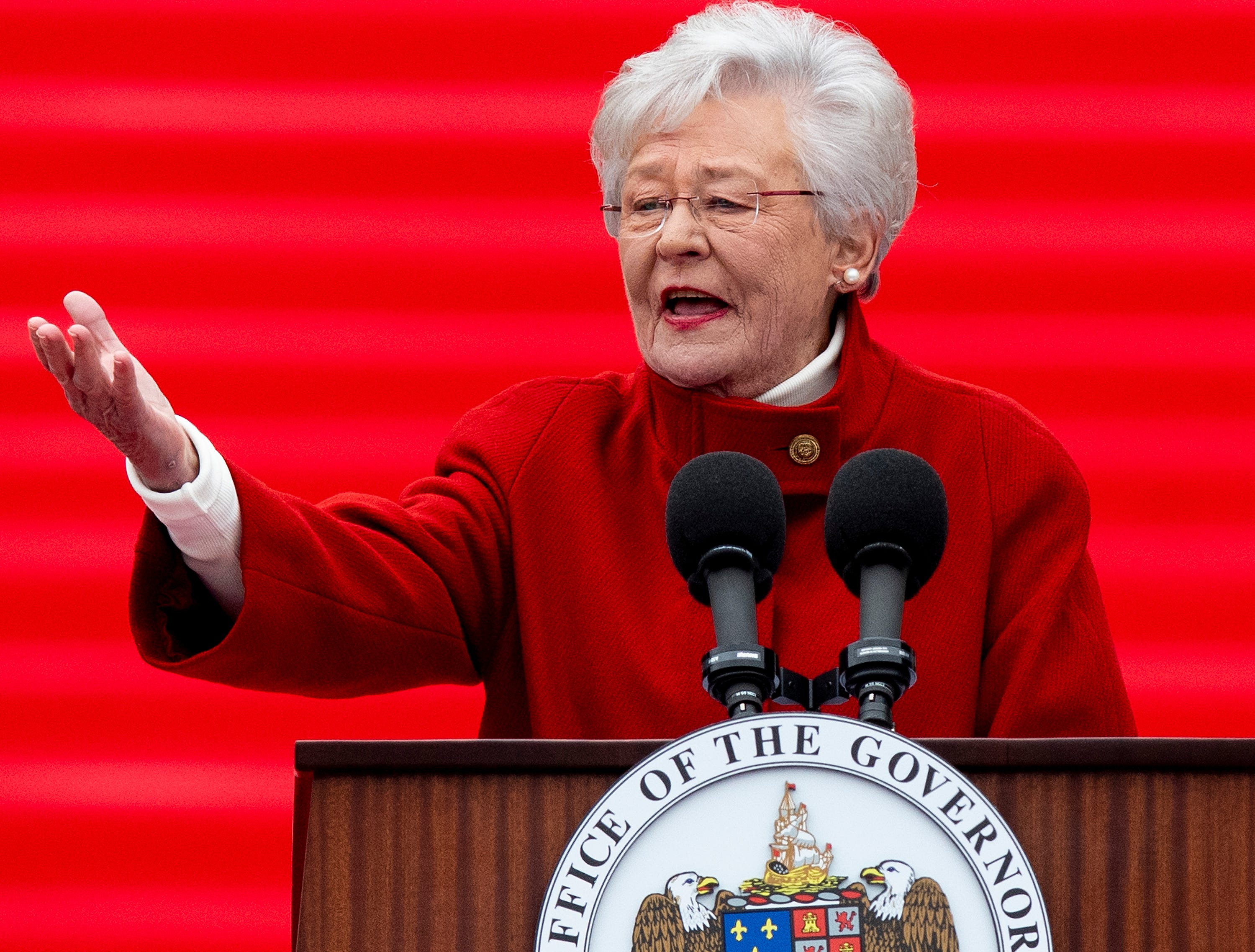 Governor Kay Ivey speaks during her Inauguration on the state capitol steps in Montgomery, Ala., on Monday January 14, 2019.