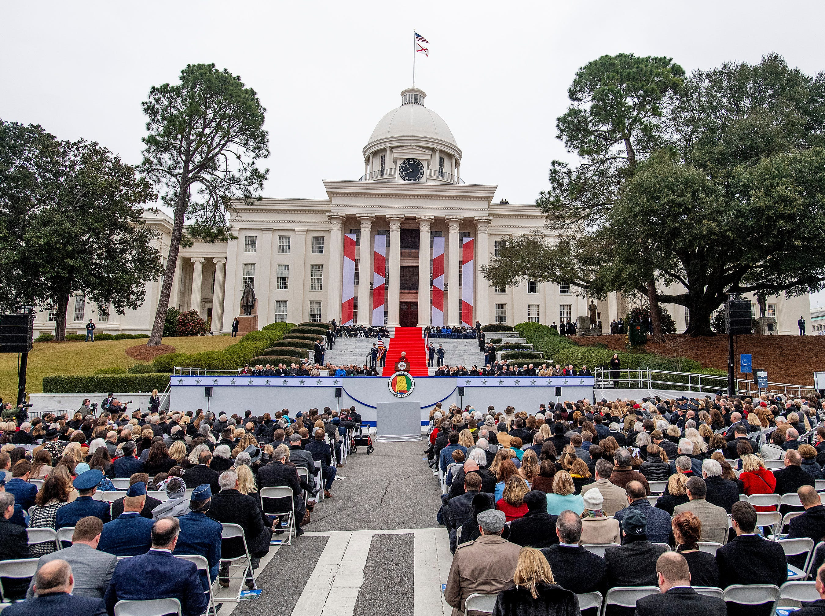 Governor Kay Ivey speaks at her inauguration on the state capitol steps in Montgomery, Ala., on Monday January 14, 2019.