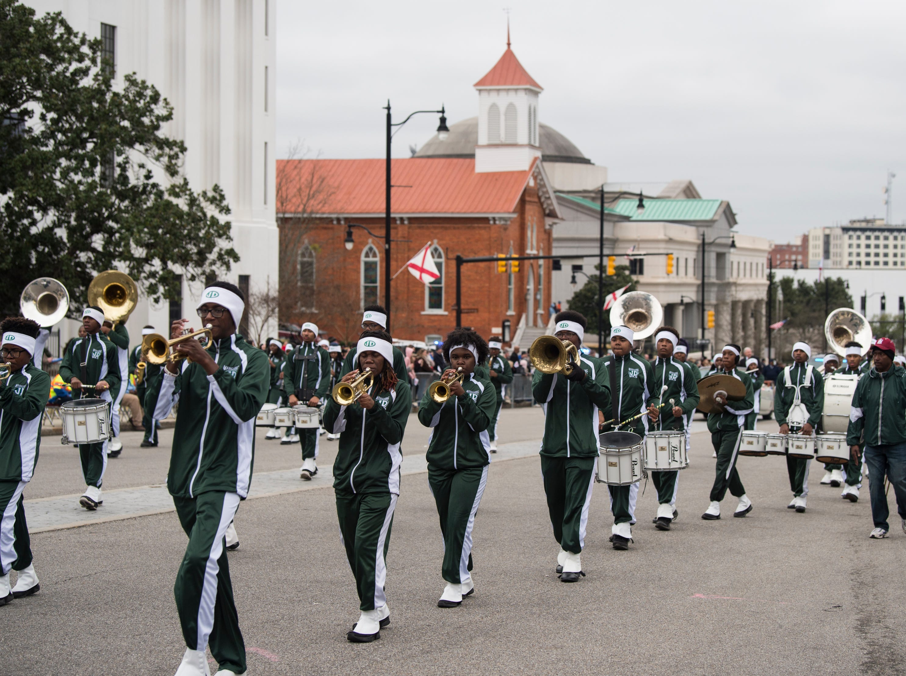 Jefferson Davis High School marching band plays during the inauguration day parade in Montgomery, Ala., on Monday, Jan. 14, 2019.
